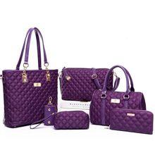 Mode Diamantgitter Frauen Marken Oxford Frauen Umhängetaschen Damen Tote Handtasche + Crossbody Tasche + Wallet Purse + 6 Sätze S-162