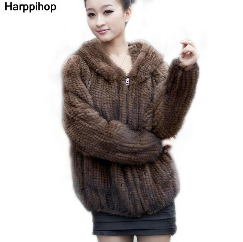 New Natural Mink Fur Coat Women Mink Fur Jacket All-match Knitted Mink Fur Coat Big Size 5XL Free Shipping