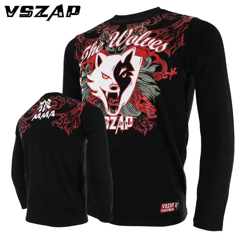 VSZAP MMA Long Sleeved T-shirt Muay Thai Hammer Fitness Comprehensive Grappling Training Male Rugby Jersey