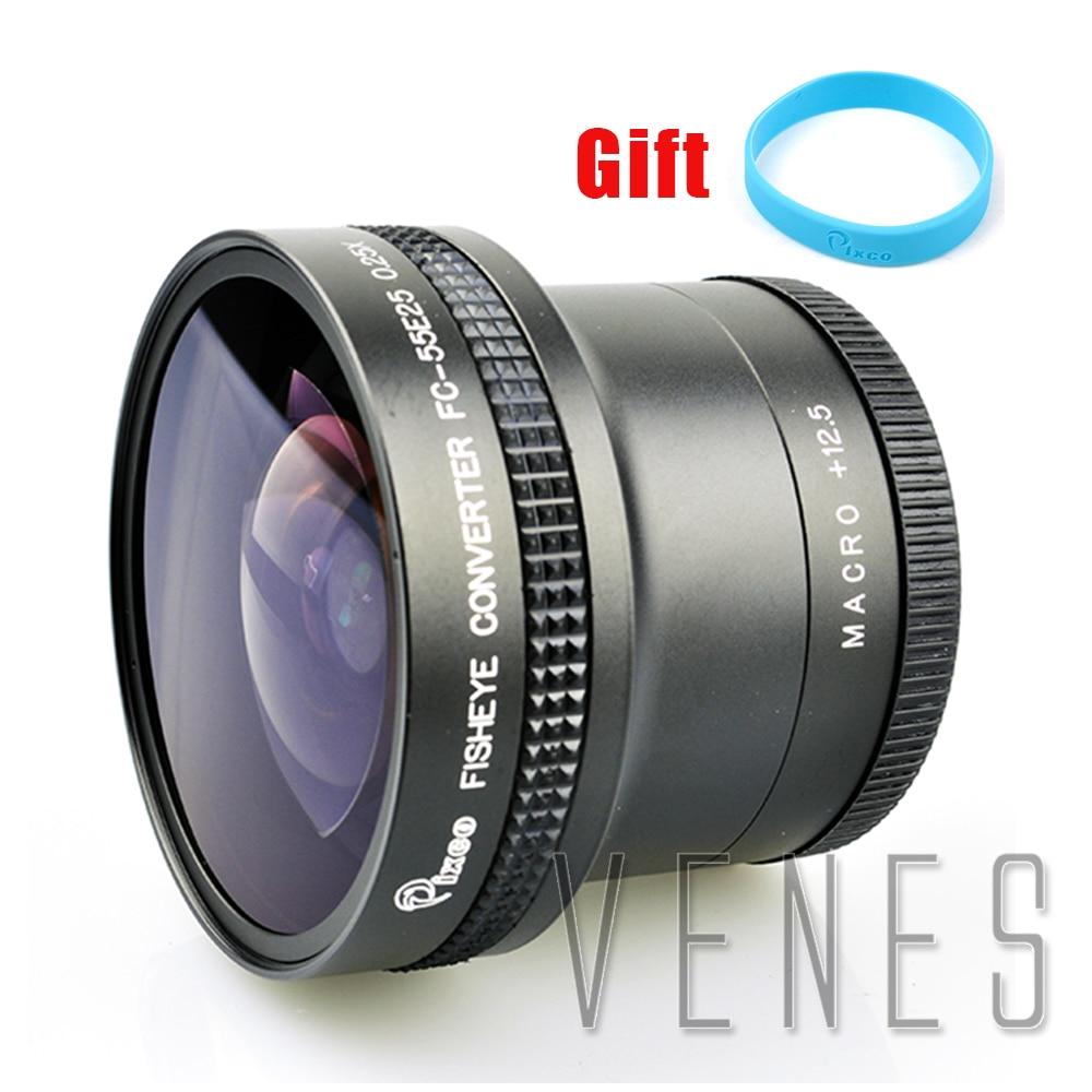 лучшая цена Pixco 55mm 0.25X Super Fisheye Wide Angle Lens+with Lens wrist strap