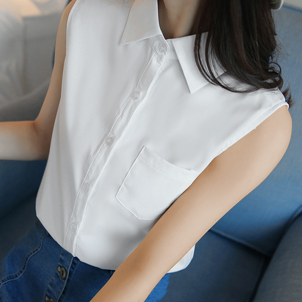 2018 Fashion Women Blouse Shirts Turn Down Collar Sleeveness Blusas With Pockets Office Blouses Lady OL Tops Female White Blue