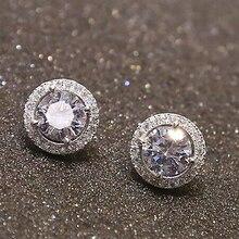 Women's Fashion Round Zircon Inlaid Earrings Luxury Silver Tone Ear Stud Jewelry