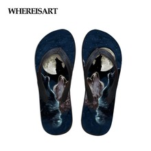 WHEREISTAR Night Roaring Wolf 3D Print Women Flip Flops Summer Flats Sneakers Female Casual Beach Non-slip Slippers For Ladies