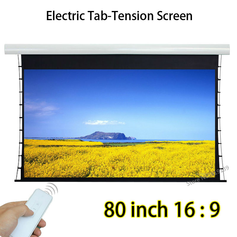 remote control 80 inch tab tension motorized projection. Black Bedroom Furniture Sets. Home Design Ideas