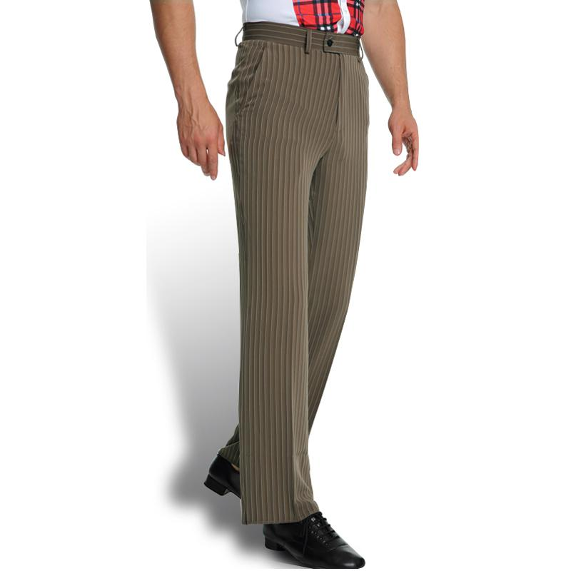 New Summer Men's Latin Dance Pants National Standard Modern Balloroon Performance Striped Pocket Trousers Fashion Dancewear 40