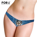 FORUDESIGNS Cute Blue Animal Cat Printed Women Denim Underwear Panties Sexy Ultra-Thin Lingerie G Sting Ladies Low Waist Thongs