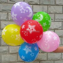 High Quality! 50pcs 2.8g 12 inch star moon printed latex helium balloons Kids Baby Birthday Wedding Party Decor ruid balloon