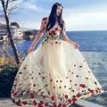 MX022 Original Design 2016 lace embroidered princess style women long maxi beach dress summer