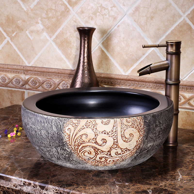 Europe Style Chinese Wash Basin Jingdezhen Art Counter Top Ceramic Basin Sink  Decoration Bathroom Sinks(