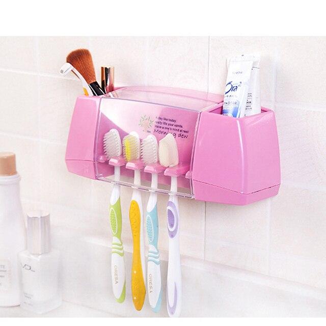 Bathroom product Dust-proof Toothbrush Holder with 2 multifunctional lattice for Bathroom Accessories Makeup toothpaste 5 Racks