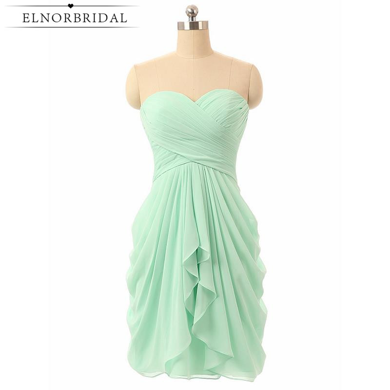 Beach Mint Green Bridesmaid Dresses 2019 Short Wedding Guest Dress Sweetheart Chiffon Vestido Madrinha Longo Bridesmaids Gowns