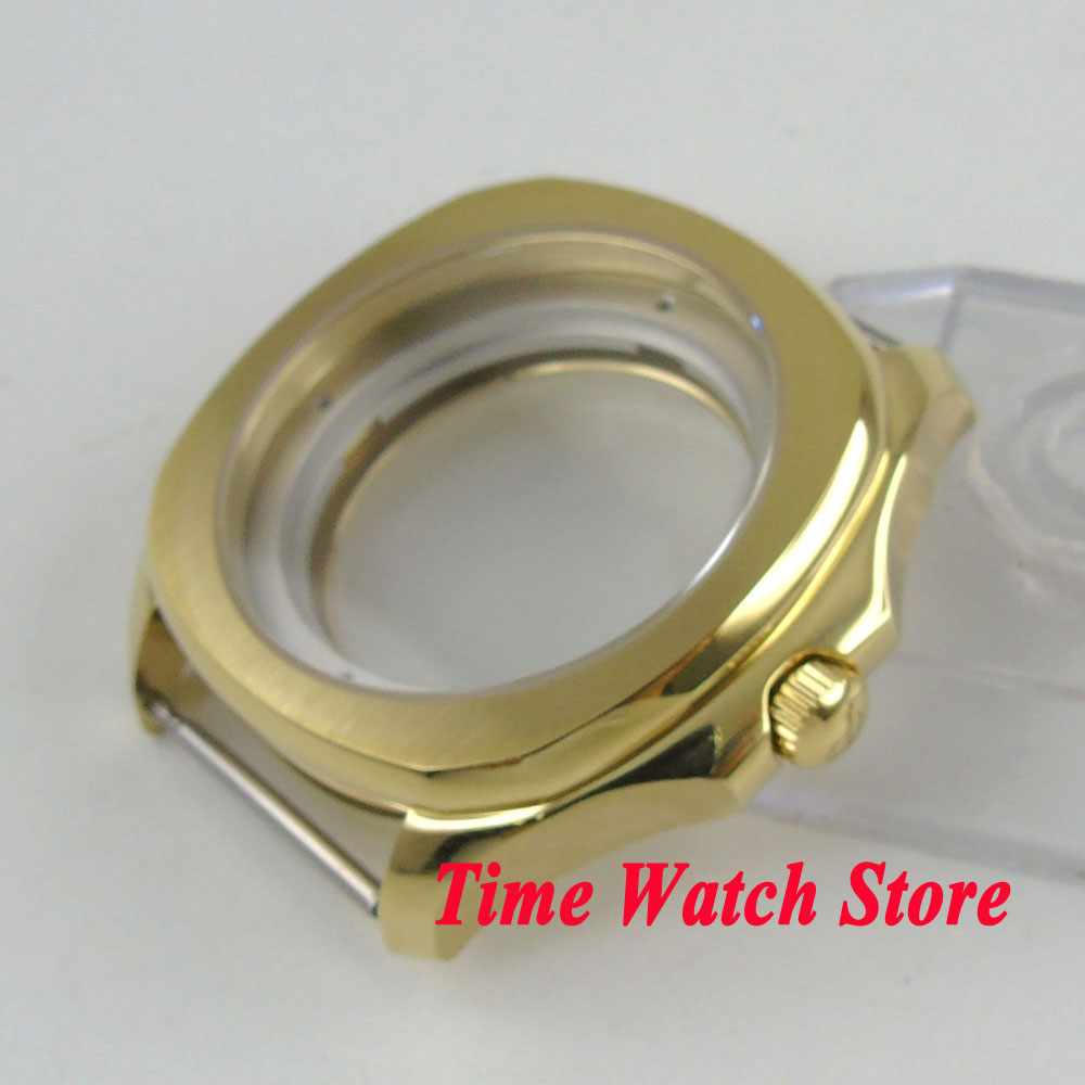 Parnis 40mm vergulde 316L horloge case Sapphire crystal see through back case Fit ETA 2836 miyota 8215 beweging c4-in Horloge Voorkant van Horloges op  Groep 3