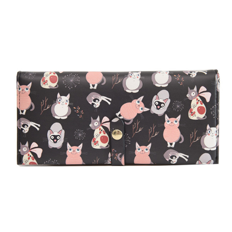 Cut Cnimal Women Wallet Cat Cartoon Long Creative Female ID Card Holder Ladies Clutch PU Leather Coin Purse Money Portefeuille new europe women pure wallet long creative female card holder casual zip ladies clutch pu leather coin purse id holder