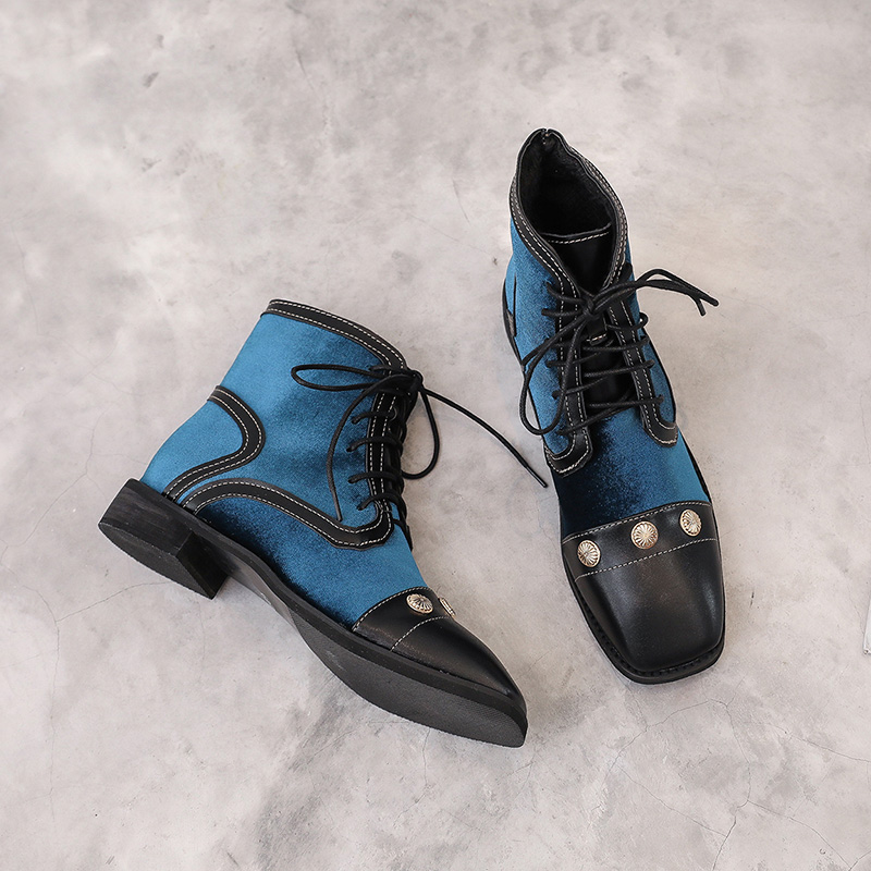 2018 autumn and winter new Martin boots female British wind retro hit color rivets wild lace with thick short boots 5