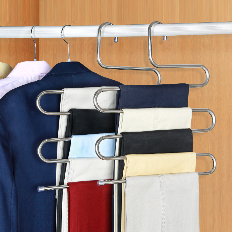 Stainless Steel Pants Hanger Trousers Shelf S-Shape Clothes Belt Towel Holder Closet Hanging Storage Rack Bathroom Accessories