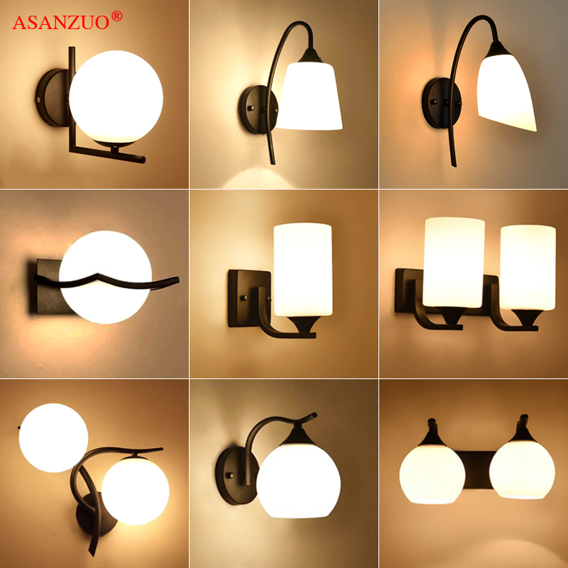 American Loft Retro Milk White Glass Lampshade Wall Lamp Vintage Bedroom Bedside Iron Wall Sconce E27 Or E14 Light Fixture
