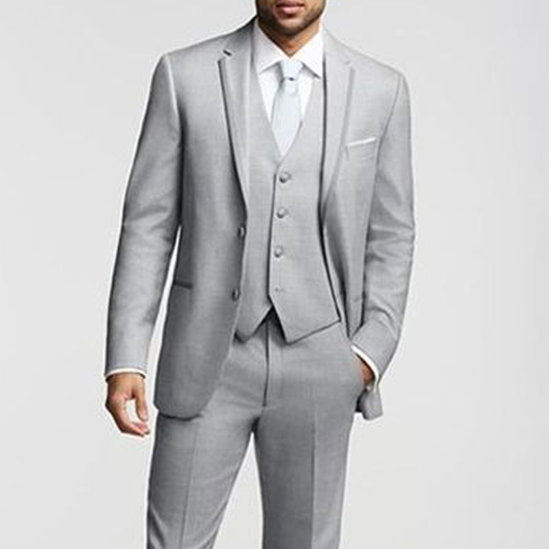 2018 Gray Business Party Men Suits Groom Wear Classic Fit Three Piece Custom Made Wedding Tuxedos Jacket Pants Vest in Suits from Men 39 s Clothing