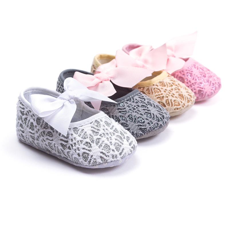 Fashion Lace Bow Girls Shoes Pretty Baby Princess Shoes Spring Autumn Toddler Shoes Soft Soled 11cm 12cm 13cm