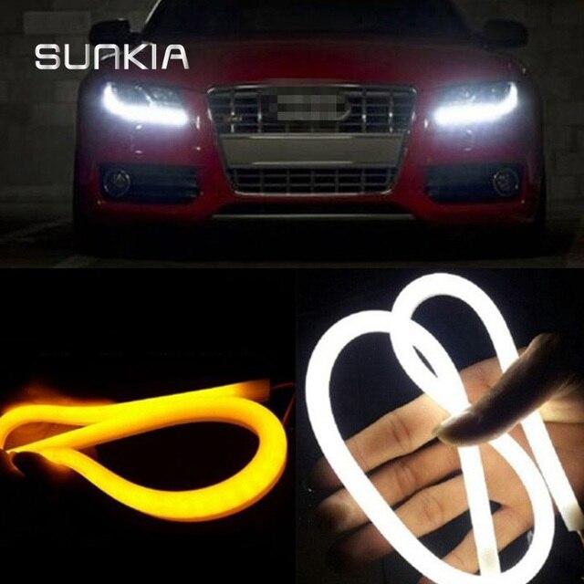 2 pièces/paire SUNKIA 30/45/60/85 CM 12 W blanc + jaune/rouge/bleu Flexible lampe de jour Switchback bande Angel Eye DRL lumière externe