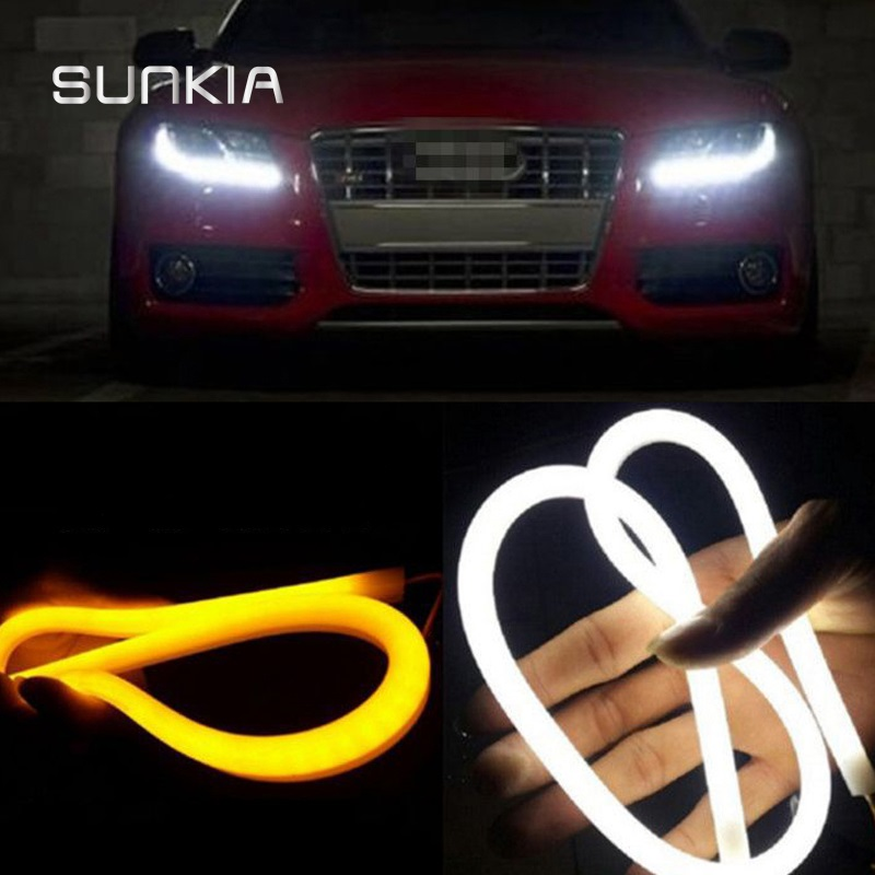 2Pcs / Pair SUNKIA 30/45/60 / 85CM 12W Blanc + Jaune / Rouge / Bleu Lampe de jour flexible Switchback Strip Angel Eye DRL Lumière externe