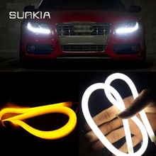 2Pcs/Pair SUNKIA 30/45/60/85CM 12W White+Yellow/Red/Blue Flexible Daytime Lamp Switchback Strip Angel Eye DRL External Light