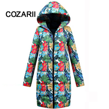 COZARII 2018 women winter hooded warm coat plus size candy color cotton padded jacket female long parka womens wadded Thick Coat недорого