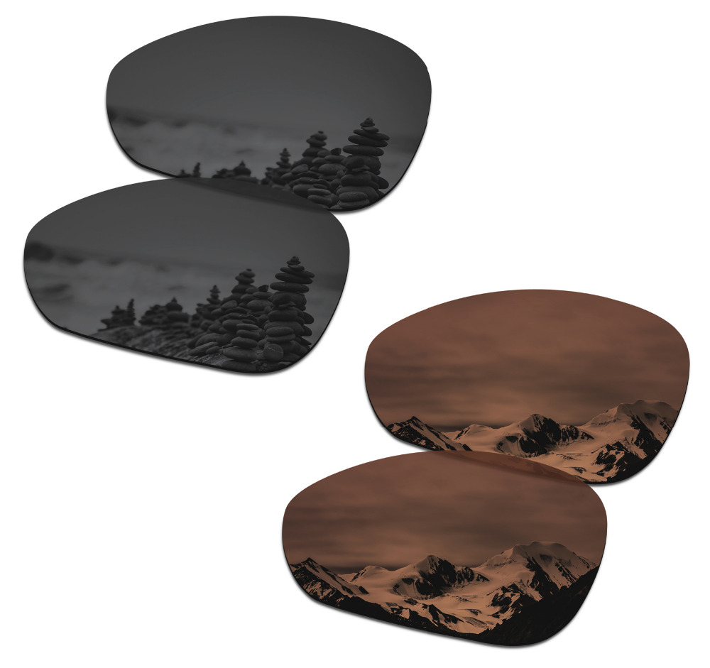 SmartVLT 2 Pairs Polarized Sunglasses Replacement Lenses for Oakley Crosshair 1.0 (2005) Stealth Black and Amber Brown