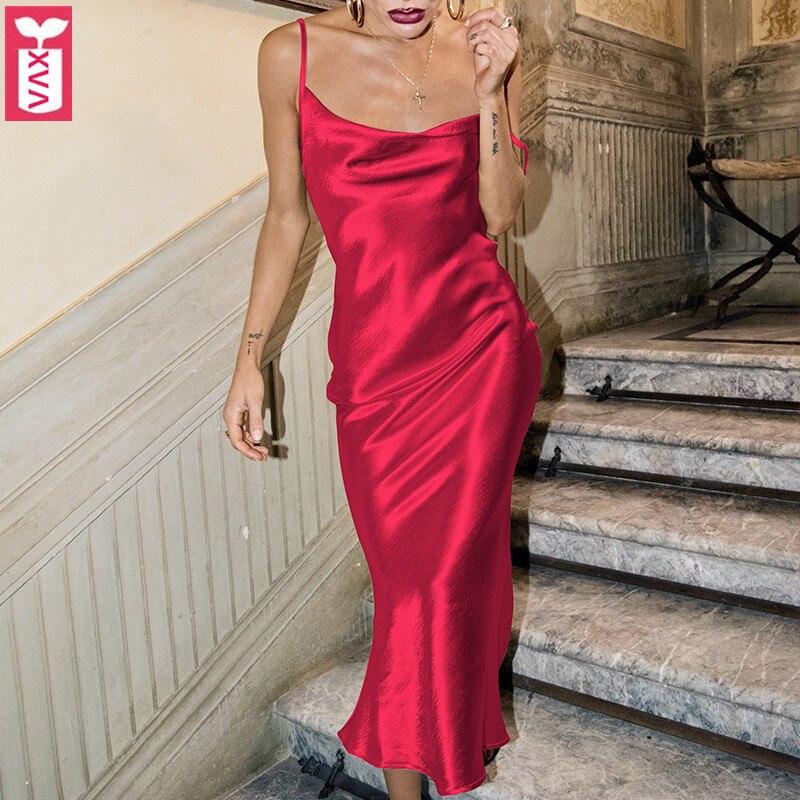 feb44bc21827a9a Роскошные шелковые высококачественные сексуальные идеальные Клубные платья  2019 женские гладкие атласные платья на бретельках Женские вече