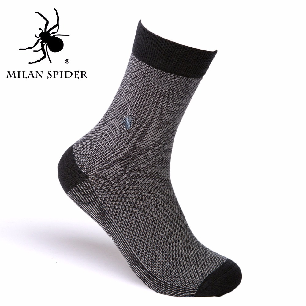 MS8107 Mens Dress/Casual Cotton Socks Breathable Combed Cotton Embroidery Spider Logo Thick Business Socks for Autumn Winter