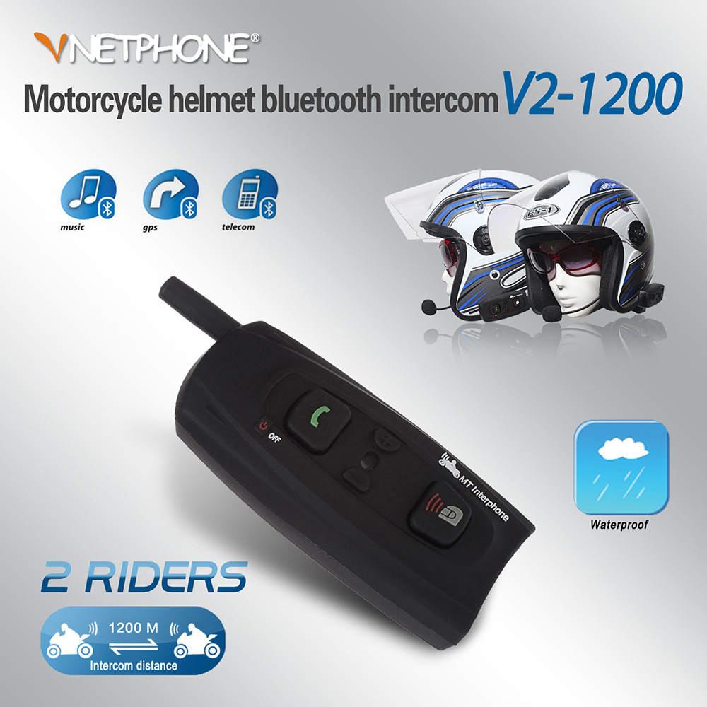 VNETPHONE Casque Casque Interphone bluetooth pour Moto bluetooth sans fil Interphone BT casque intercom 1200 M 2 pièces