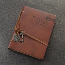 Diario con cuerda llave Retro Vintage Cuero clásico cuaderno encuadernado café oscuro
