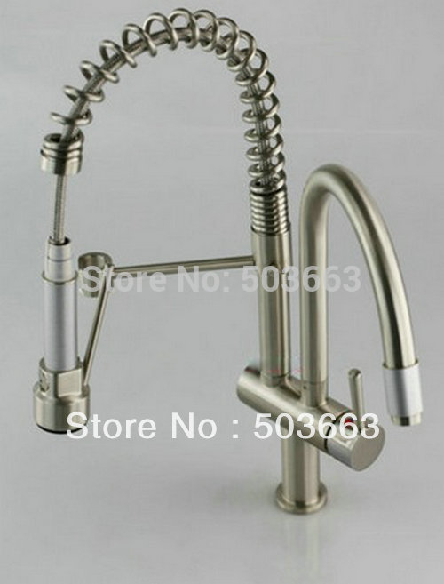 Brushed Nickle Brass Kitchen Faucet Basin Sink Swivel  Pull Out Down Jets Spray Single Handle Mixer Tap S-805 Mixer Tap Faucet kitchen chrome plated brass faucet single handle pull out pull down sink mixer hot and cold tap modern design