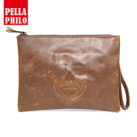 2018 New Famous Brands Messenger Bag Men Leather Brown Emboss Skull Clutch Bag Zipper Luxury Day Clutches Document Wristlet