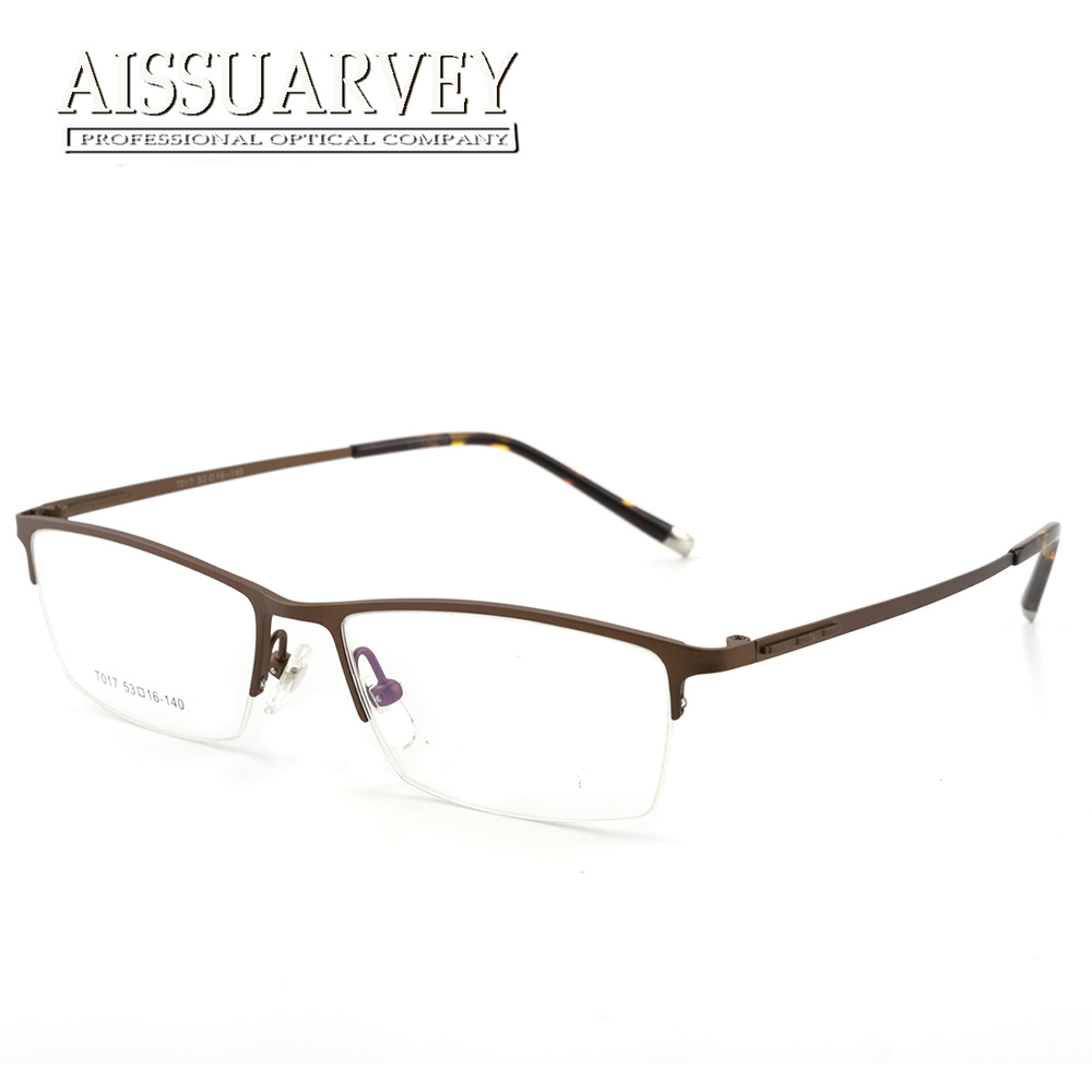 d31574955026f Titanium Men Glasses Frames Optical Half Rim Square Brand Designer Light  Simple Prescription Business Handsome Top Quality New