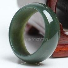 Чудесное женское и мужское кольцо из натурального зеленого Хотана, Нефритовый камень, кольца на удачу, 17-20 мм, внутренний диаметр, ювелирное изделие