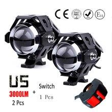 1 pair U5 Motorcycle Headlight 125w Cree LED chip driving DRL 4 color car fog light moto spotlight Head light lamp DRL W/ switch