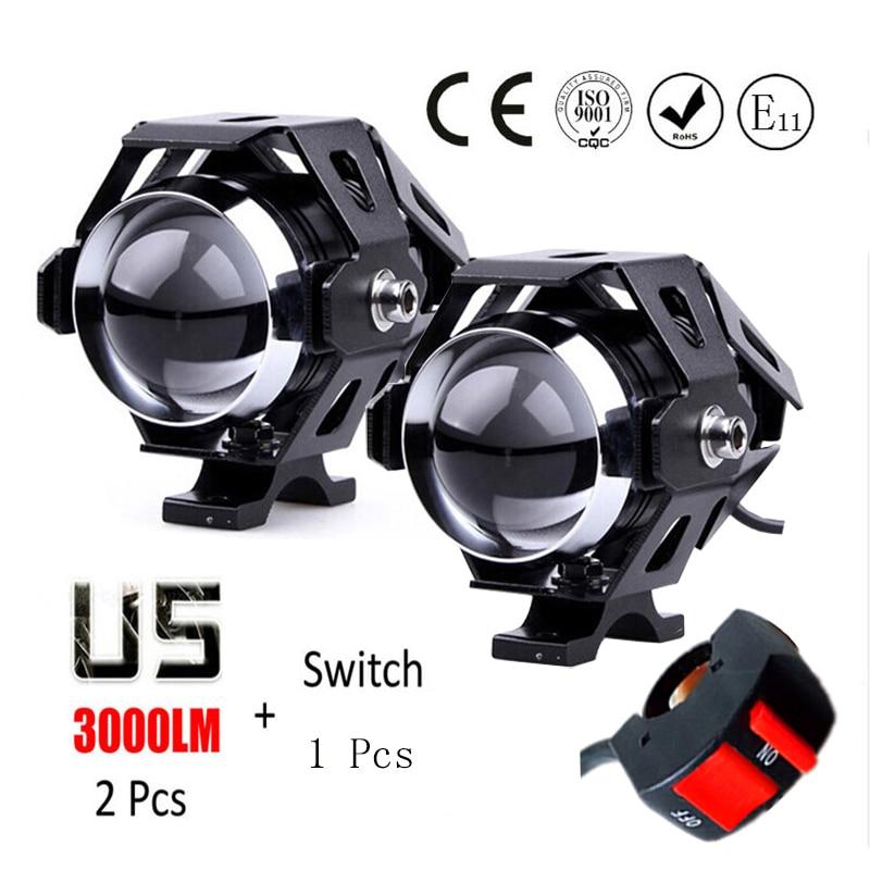 Huiermeimi 1pair U5 Motorcycle Headlight 125w LED driving DRL 4 color car fog light moto spotlight
