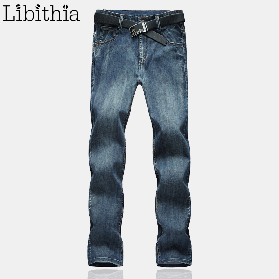 Men's Classical Straight Jeans Male Slim Fit Plus Size Pants For Men Designer Casual Homme Denim Classic Trousers Spring E489 male slim fit pants for men fashion motorcyle men s straight jeans denim biker trousers male famous brand plus size 34 52 e492