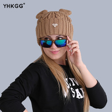 2017 cat ears hat wool winter fashion gorros cap fixing Stacking knitted hats women multicolor Personality