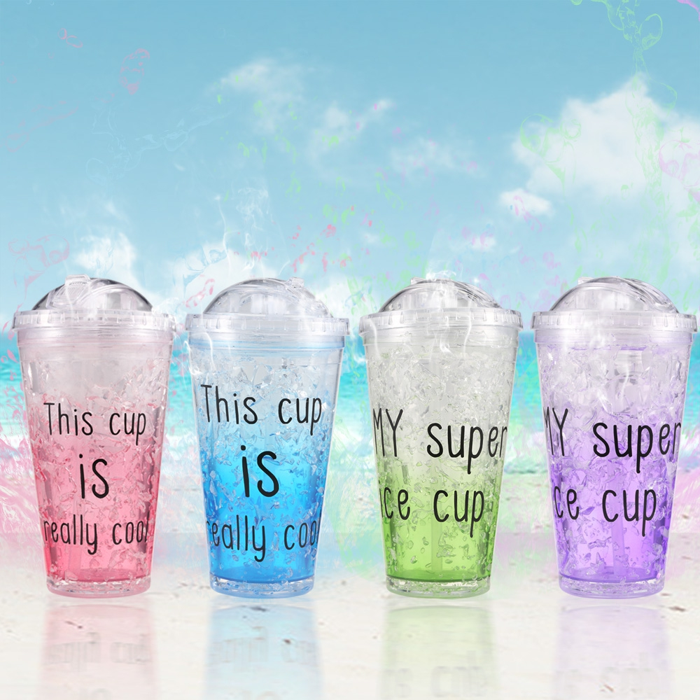 Ice Double Plastic Cool Summer Juice Ice Cool Cup Water Coffee Juice Cola Cool Ice Straw Cup Transparent Drinkware