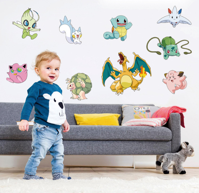 Popular Game Pokemon Go Wall Stickers for Kids Rooms Cartoon Pikachu Wall Decal Art Mural Nursery Room Decor