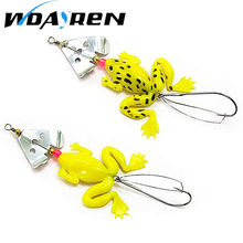 New 1Pcs frogs Fishing Lure 6.2cm 8g Rubber Soft Fishing Lures Bass SpinnerBait spoon Lures carp fishing tackle free shipp FA281