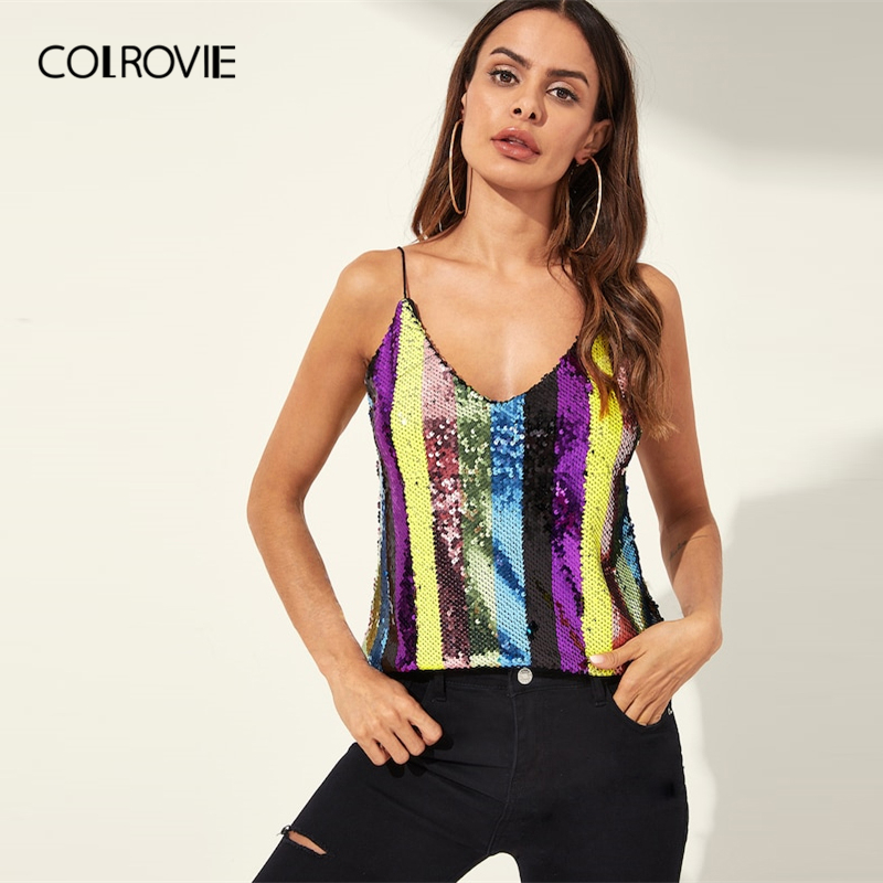 26c62ff4e0 COLROVIE Metallic Sequin Dual V Neck Party Cami Top Womens 2019 Spring  Fashion Korean Spaghetti Strap