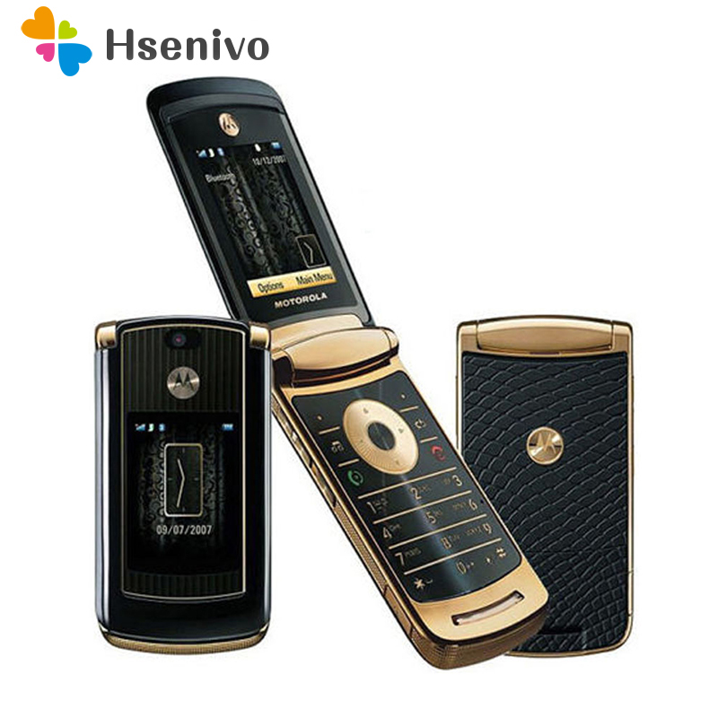 Refurbished original unlocked motorola razr v8 mobile phone Gold with 512 or 2GB internal memory luxury version free shipping