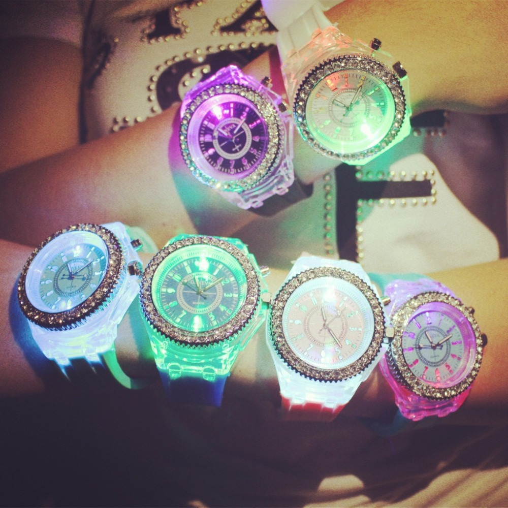 Fashion Tide Led Light Wristwatch Female Form Student Casual Sports Personality Jelly Luminous Watches Child Clock Hours