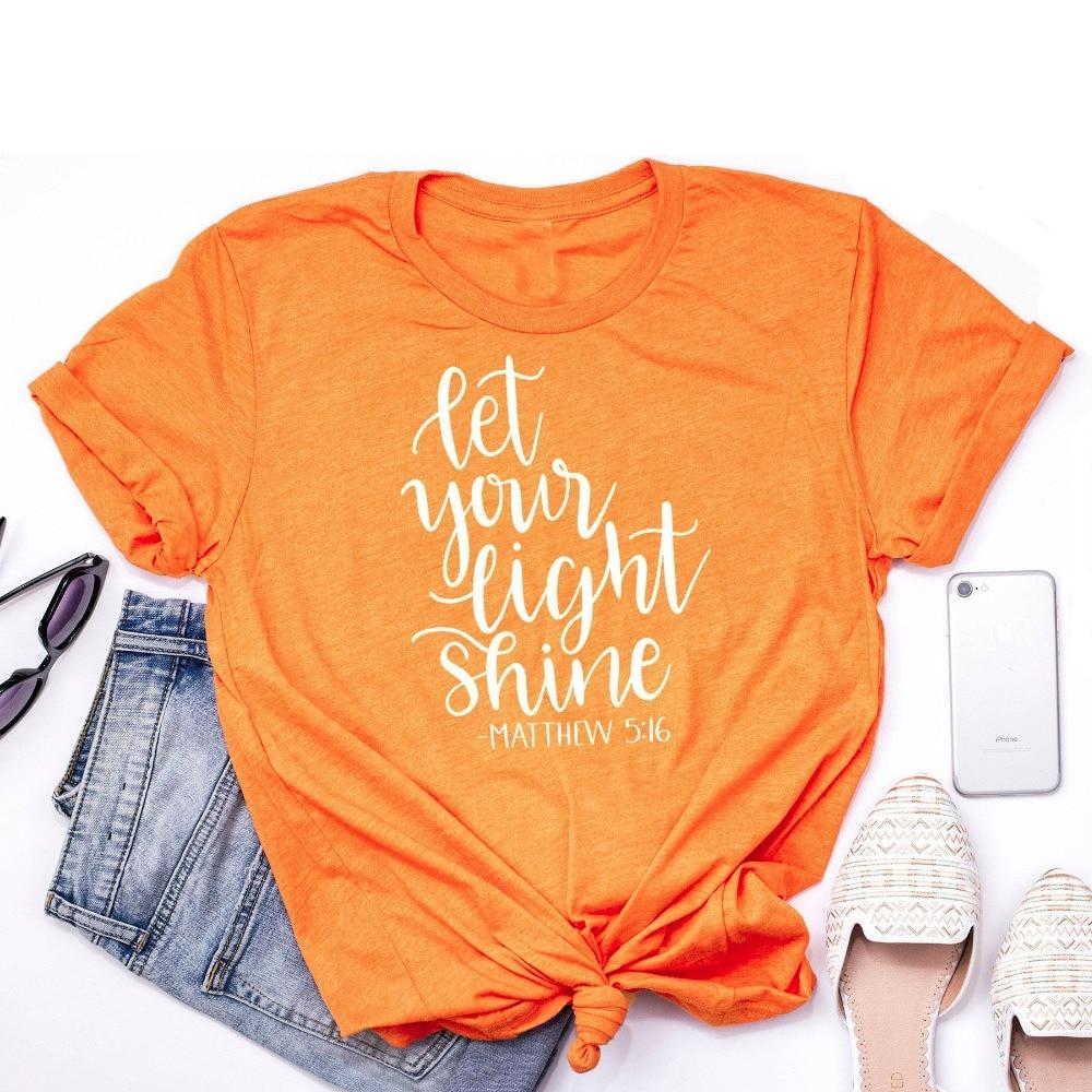 7f158afdf Let your light shine t-shirt Faith Shirts Christian Gift for Women slogan  fashion graphic