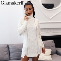Glamaker Turtleneck knitting split white sweater Women long sleeve cotton jumper Female autumn winter fashion casual pullover