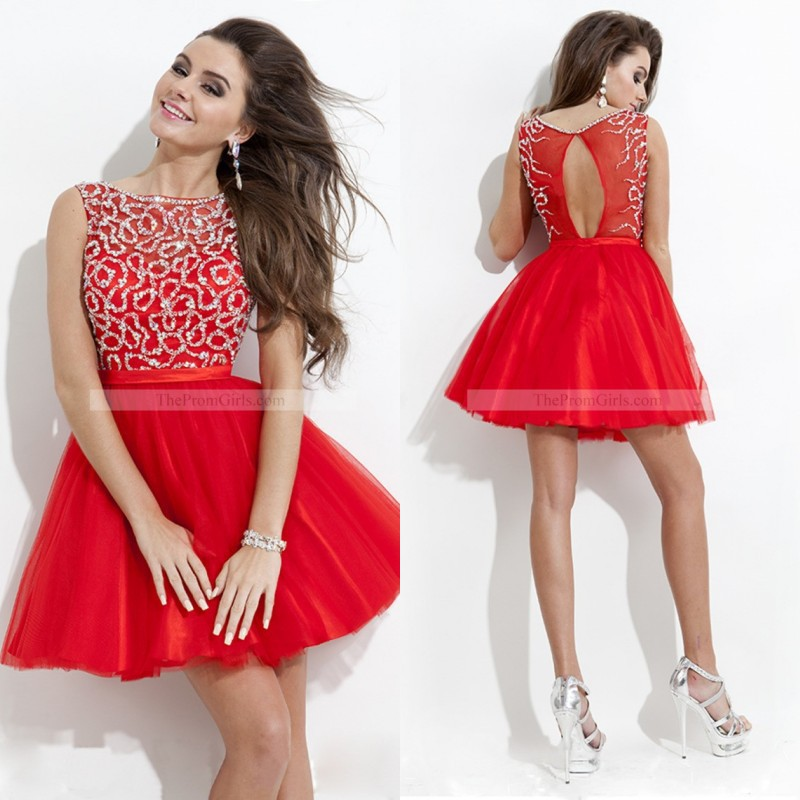 2015 Cute Short Prom Dress Red Scoop Neck Tulle Beading Junior Girls