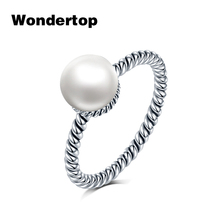 Wondertop 925 Sterling Silver 7.5mm Natural Color Freshwater Cultured Pearl Twisted Ring Wedding Engagement Party Jewelry