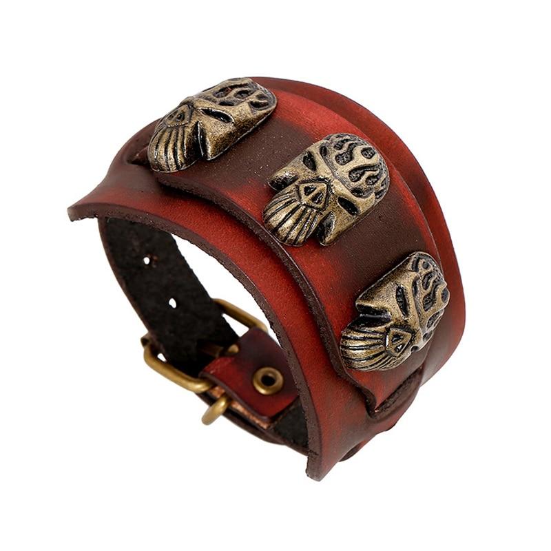 Men Jewelry Cuff Bracelets Bangles Genuine Leather Bracelet Male Big Wrap Biker Charm Wristband Armband Punk Bangle